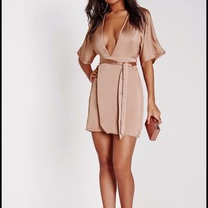 Missguided Silk Kimono Deep Mini Dress